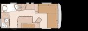 rozkład wnętrza przyczepy kempingowej KNAUS LIFESTYLE 490 L