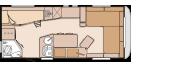 rozkład wnętrza przyczepy kempingowej KNAUS LIFESTYLE 550 LK